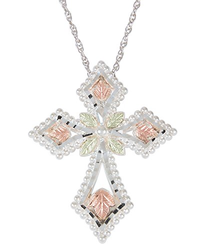 (Passion Cross Pendant Necklace, Sterling Silver, 12k Green and Rose Gold Black Hills Gold Motif, 18'')