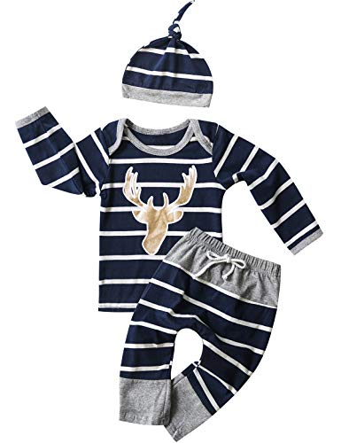 Christmas Outfit Set Baby Boy Deer Striped Pant Clothing Set (Blue, 0-3 Months) -