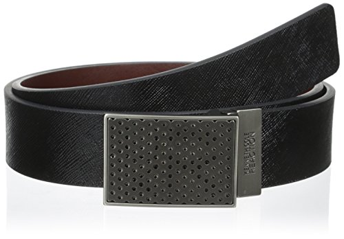 Kenneth Cole REACTION Men's 1 3/8 in. Perforated Plaque Reversible Belt, Black/Brown, 42