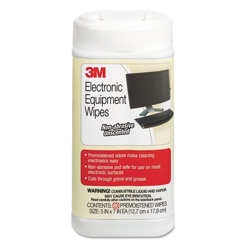 Electronic Equipment Cleaning Wipes, 5 1/2 x 6 3/4, White, 80/Canister, Sold as 1 Each