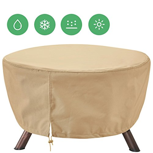 Extra Heavy Duty Patio Fire Pit Cover Round 44-Inch Diameter/Outdoor Furniture Covers Waterproof by Siran