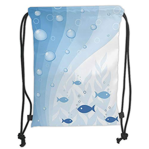 Custom Printed Drawstring Sack Backpacks Bags,Aquarium,Abstract Vivid Underwater Composition with Waves Bubbles Fishes and Plants Decorative,Light Blue White Soft Satin,5 Liter Capacity,Adjustable Str