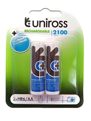 Uniross Ni MH 2xR6/AA Rechargeable Batteries 2100mAh