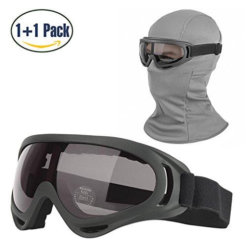 COOLOO Balaclava & Ski Goggles Sets, Ultralight Balaclava Face Mask Windproof Ski Hood + UV400 Protection Anti-fog Ski Goggles Cycling Biking Ski Snowboard