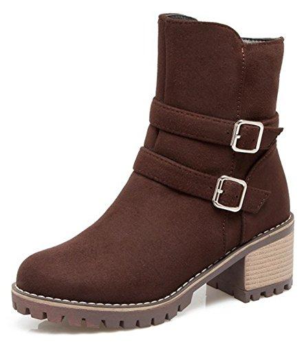 Aisun Kvinna Mode Spänne Rem Inuti Zip Upp Rund Tå Tossor Mitten Blockera Klack Boots Med Dragkedja Kaffe