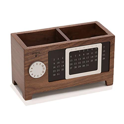 Creative Wooden Large Capacity Pen Holder Small Fresh Pen Simple and Convenient Debris Storage Box Office Storage Box Multi-Function Pen Holder Office Supplies Pen Holder (Color : Walnut Color)