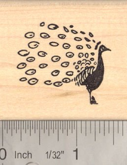 Small Peacock Rubber Stamp, Bird