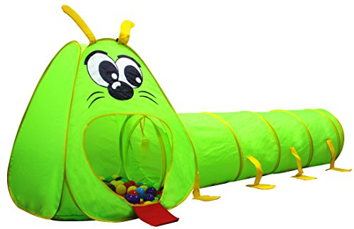 Kiddey Caterpillar Play Tunnel and Tent Combo (2-Piece Set) - Kids Crawling and Exploration Discovery Station for Early Learning and Muscle Development - Indoor/Outdoor Use