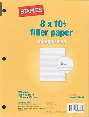 8 X 10 1/2 Filler Paper - College Ruled 3-hole 120 Sheets (Pack of 3)