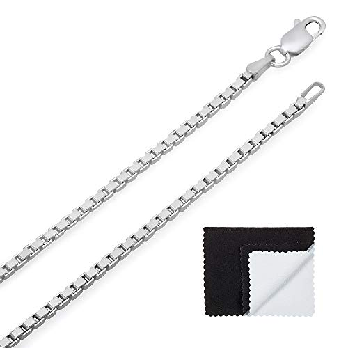Platinum Silver Jewelry Box - 2mm .925 Sterling Silver Squared Venetian Box Link Chain Necklace, 30
