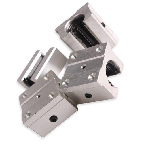 Aluminum Linear Bearing - Vktech 4 Pcs Aluminum Open Linear Router Motion Bearing Solide Block (SBR16UU 16mm)