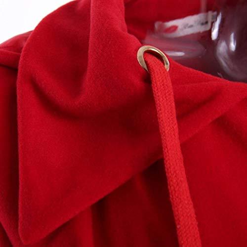 Single Cappuccio Cappotti Invernali Moda Elegante Lunga Manica Fashion Con Transizione Rot Giubotto Monocromo Ragazza Coulisse Di Anteriori Tasche Mantello Casual Donna Giacche Breasted xqqawg0
