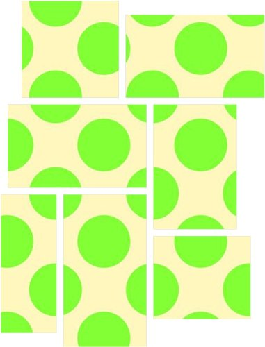 Kearas Polka Dots Lime On Cream - 7 Piece Fabric Peel and Stick Wall Skin Art (50x38 inches) - Lime Dot Fabric