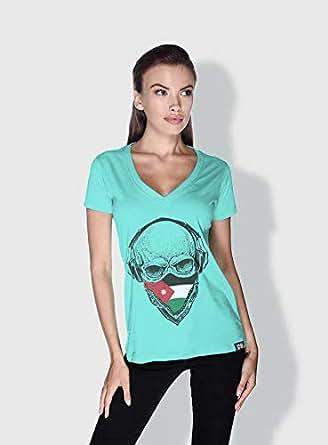 Creo Jordan Skull T-Shirts For Women - S, Green