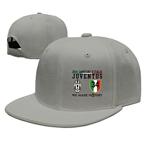 HmkoLo Juventus Cotton Flat Bill Baseball Cap Snapback Hat Unisex Ash
