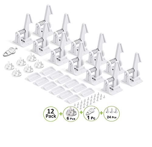 Cabinet Locks Child Safety Latches - Invisible Design | Child Proof Drawer Locks for Kids | Baby Proofing Locks for Drawers Cabinets and Closets (12 Pack) - 3M Adhesive, NO Tools NO Drill, by Nivlle