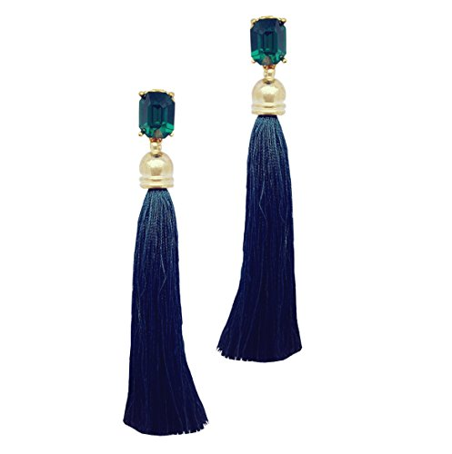 Moonstruck Stone Brass Tassel Earrings for Women  amp; Girls