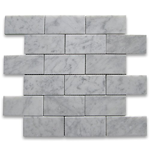 Carrara White Italian Carrera Marble Subway Brick Mosaic Tile 2 x 4 Honed