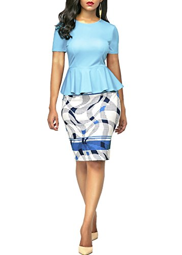KISSMODA Womens Short Sleeve Work Bodycon Dress One Piece Midi Pencil Peplum Summer Dresses O Neck Light Blue Medium by KISSMODA (Image #2)