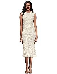 novelty short soutache tank midi sheath wedding dress style 862617