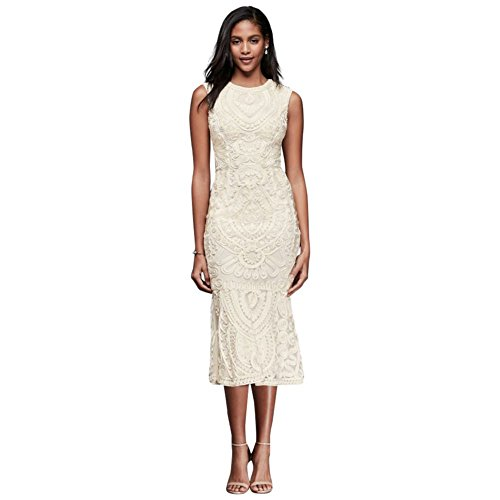 David's Bridal Soutache Tank Midi Sheath Dress Style 862617, Ivory, 16 by David's Bridal