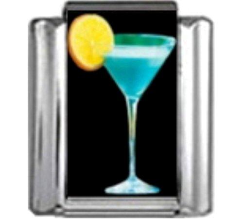 - Stylysh Charms Cocktail Blue Lagoon Martini Photo Italian 9mm Link NC148