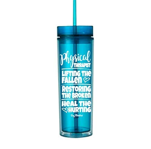 - Physical Therapist Gifts for Women Water Bottle Tumbler Her Cup with Lid Assistant Blue 0206