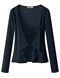 Doublju Womens Long Sleeve Jersey Knit Cardigan Draped Open Cardigan (S - 3XL)
