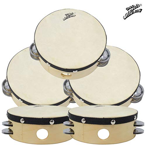 5-Pack 6″ Inch Hand Held Tambourine Percussion Drum 4 Double Row Metal Jingles Kids
