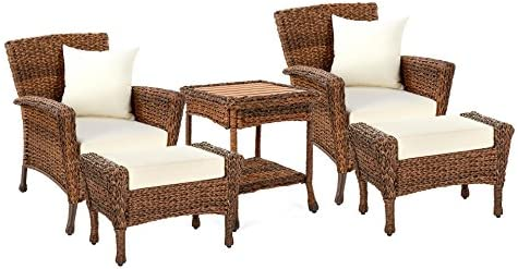W Unlimited Rustic Collection Outdoor Furniture Light Brown Rattan Wicker Garden Patio Furniture Bistro Set, Lounger Deep Seating Sectional Cushions 5 Piece Ottoman Set