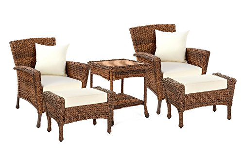 W Unlimited Rustic Collection Outdoor Furniture Light Brown Rattan Wicker Garden Patio Furniture Bistro Set, Lounger Deep Seating Sectional Cushions (5 Piece Ottoman Set) (Furniture Seating Aluminum Deep Patio)