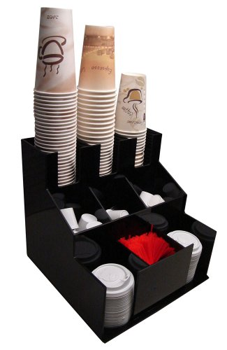 Coffee Cup Dispenser and Lid Holder Organizer Condiment Stirrer, Sugar Cup Caddy Organize and Display Your Beverage Counter Station with Style (1010)