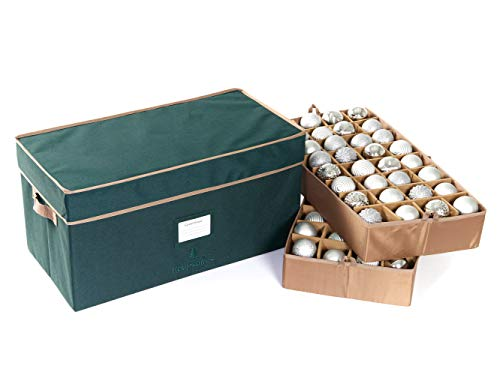 Covermates – Holiday Adjustable Ornament Storage Box – Holds 54 to 96 Ornaments – 3 Year Warranty- Green