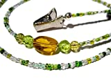 ATLanyards Yellow and Green Eyeglass Holder - Beaded Eyeglass Chain With Clips