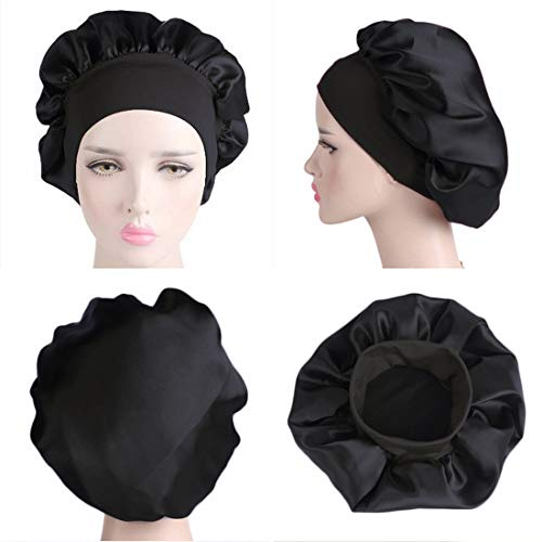 Satin Bonnet Sleeping Cap Women Wide Elastic Band for Curly Long Hair 2pcs (Black+Wine Red)