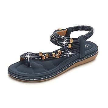 HMJZLyweii Large Size Women's Shoes Bohemian Sandals Retro