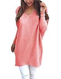 Women Casual Long Sleeve V neck Pure Pullover Tunic Sweater