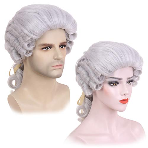 STfantasy Barrister Wig George Washington Cosplay Silver Grey Long Curly Synthetic for Women Mens Halloween Judge Magistrate Lawyer Attorney Costume