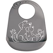 modern-twist Puppies Waterproof Silicone Baby Bucket Bib with Adjustable Strap, Plastic Free, Wipe Clean and Dishwasher Safe, Grey