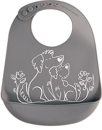 Collection Modern Mailbox - modern-twist BB013 Waterproof Silicone Adjustable Strap Bucket Baby Bib, Puppy Love
