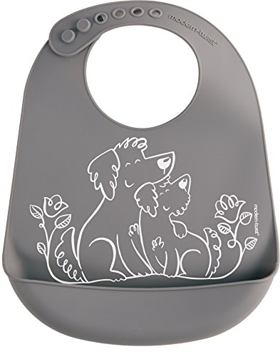 Twist Strap - modern-twist Puppies Waterproof Silicone Baby Bucket Bib with Adjustable Strap, Plastic Free, Wipe Clean and Dishwasher Safe, Grey