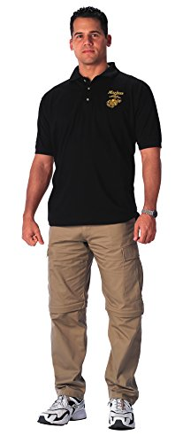Rothco Military Embroidered Golf Shirt-Black, Marine, Large - Marine Corps Polo Shirts