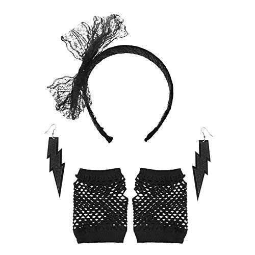 Amosfun 3pcs 80s Party Lace Headband Earring Fishing Net Gloves Bachelorette Party Girls Party Adult Theme Party DIY Decorations -