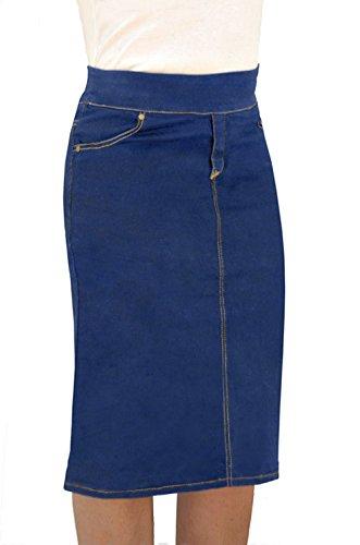 Back Slit Denim Skirt - Kosher Casual Women's Denim Fitted Pencil Skirt Knee Length with Overlapping Back Slit Medium Stonewashed Blue