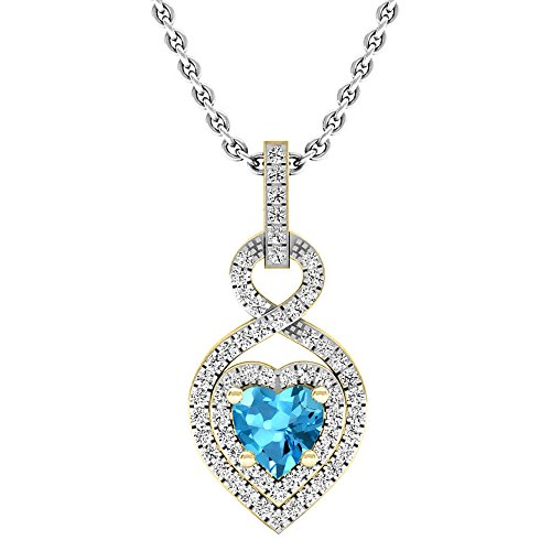 Dazzlingrock Collection 14K 5 MM Heart Cut Blue Topaz & Round Diamond Heart Pendant (Silver Chain Included), Yellow Gold