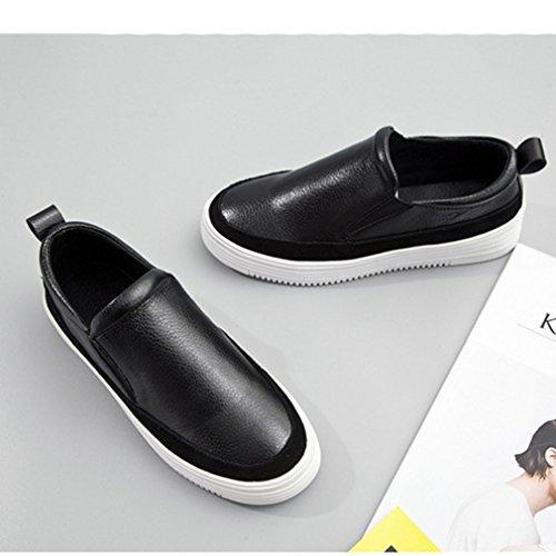 Mocassin Chausaure Mode Noir Imperméable Platefotme Chaussure Durable Jrenok Enfiler En Creepers Cuir Casuel Femme À D'élasticité Basket w6Zq0ZHg