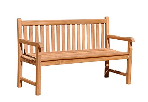 Courtyard Casual Natural Finish Teak Heritage Outdoor Two Seater Bench