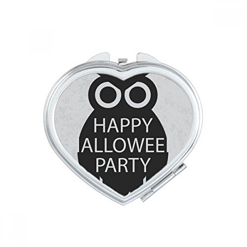 DIYthinker Halloween Simple Black Cartoon Owl Heart Compact Makeup Pocket Mirror Portable Cute Small Hand Mirrors Gift -