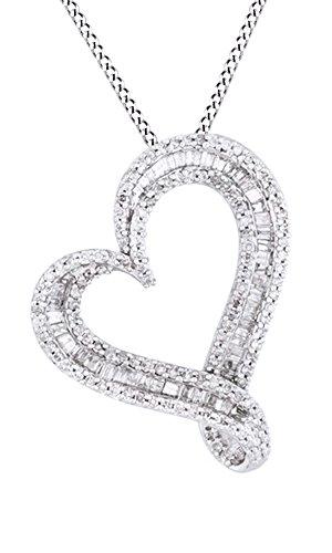 Jewel Zone US White Natural Diamond Heart Pendant Necklace In 10k White Gold (0.5 (10k Gold Diamond Heart Pendant)