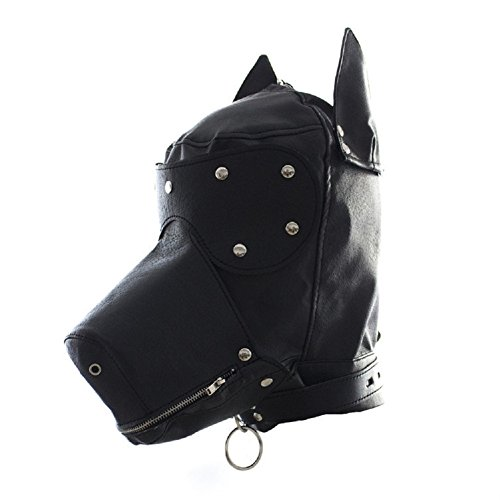 Raycity Black Leather Costume Gimp Mask Hood Style 4